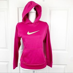 Nike Pink Yellow Hoodie Pullover Sweater